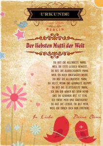 Urkunde für die liebste Mutti der Welt mit hübschen Design